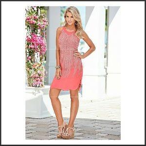 Venus Coral Sequined Dress